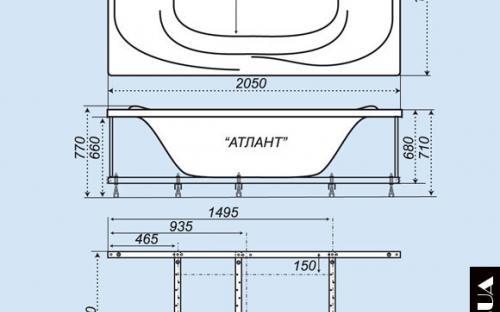 Размеры ванны Атлант Тритон