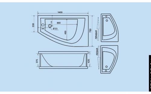 Размеры ассиметричной  ванны Белла Тритон