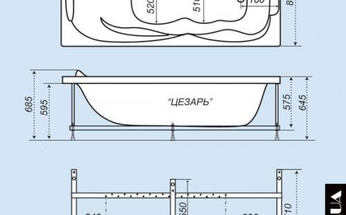Размеры ванны Цезарь Тритон
