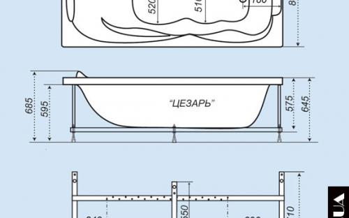 Розміри ванни Цезар Тритон