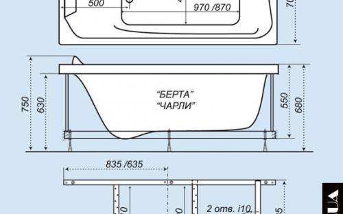 Размеры ванны Чарли Тритон