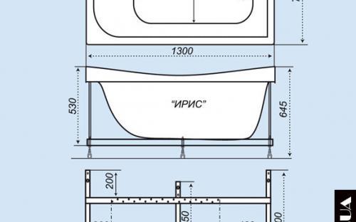 Размеры ванны Ирис Тритон