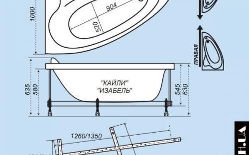 Размер левой и правой ванны Изабель Тритон
