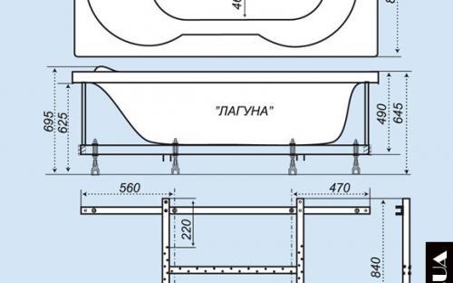 Размеры ванны Лагуна Тритон