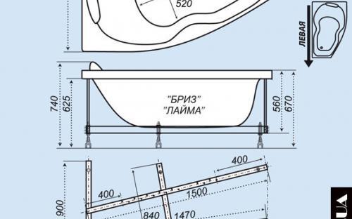Размеры левой и правой ванны Лайма Тритон