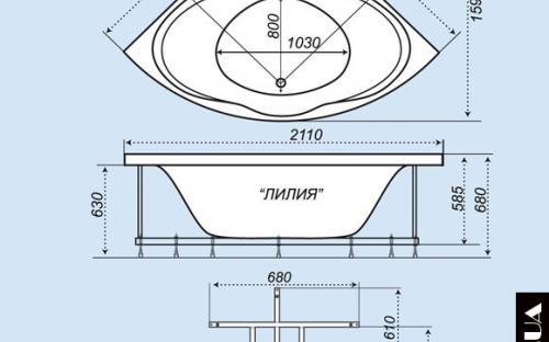 Размеры угловой ванны Лилия Тритон