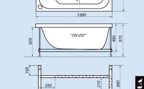Размер ванны Лу-Лу Тритон