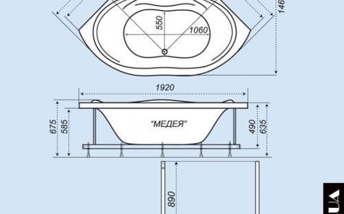 Розміри кутової ванни Медея Тритон