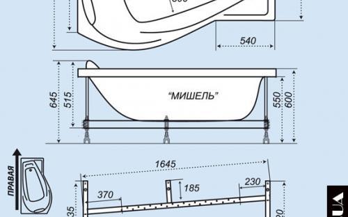 Розміри лівої і правої ванни Мішель Тритон
