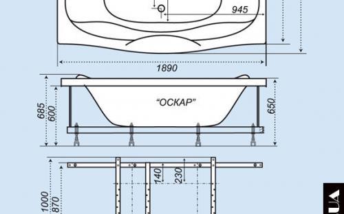 Размеры ванны Оскар Тритон