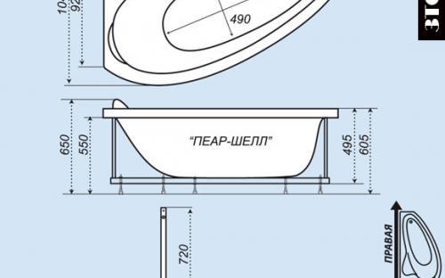 Розміри лівої і правої ванни Пеарл-Шелл Тритон