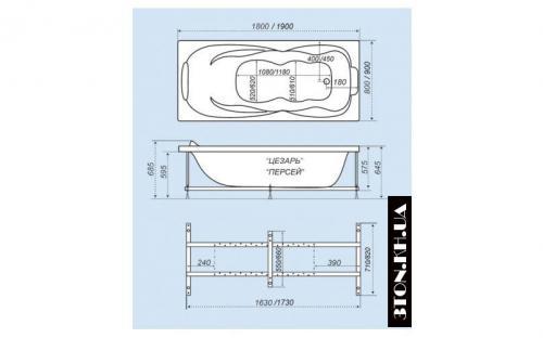Размеры ванны Персей Тритон