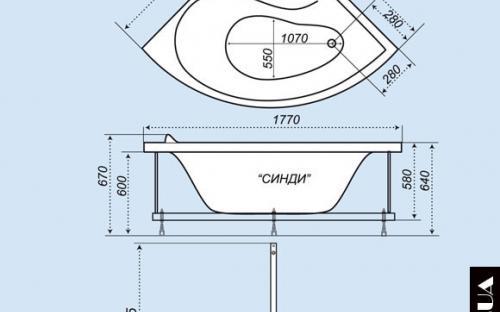 Размеры угловой ванны Синди Тритон