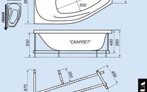 Розміри лівої і правої ванни Скарлет Тритон