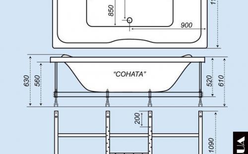 Размеры ванны Соната Тритон