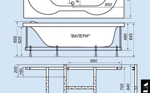 Размеры ванны Валери Тритон