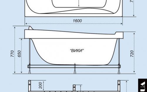Розміри ванни Вікі Тритон